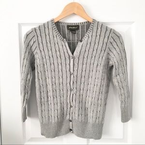 Eddie Bauer Cable Knit Grey Cardigan
